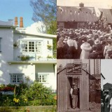 Clockwise: A cottage in Letchworth Garden City today, Cheap Cottages Exhibition, and cottage construction