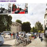 Caption - Main image: reconfigured street space and opportunity. Top left: existing urban centre, Marble Arch, London. Top middle: road space, signage and clutter that could be removed with the introduction of Autonomous Vehicles