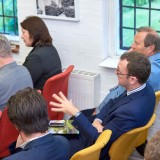 David Waterhouse of Design Council Cabe asks a question at the launch of Garden Cities - Why Not at the Institute